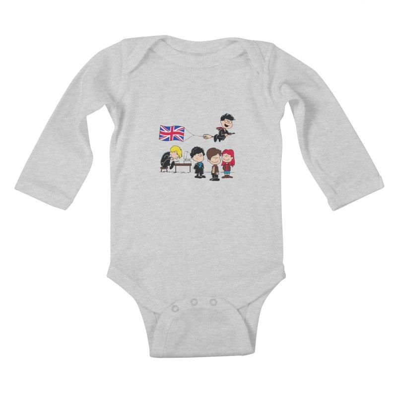 Brit Peanuts Kids Baby Longsleeve Bodysuit by foureyedesign's shop