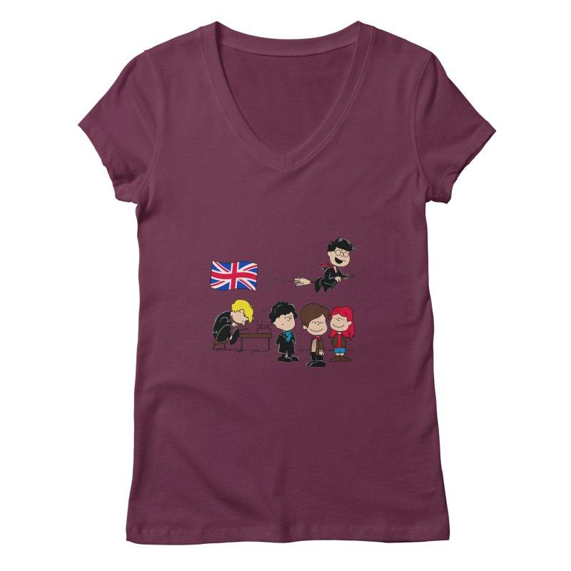 Brit Peanuts Women's V-Neck by foureyedesign's shop