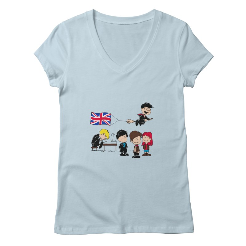 Brit Peanuts Women's V-Neck by foureyedesign's shop