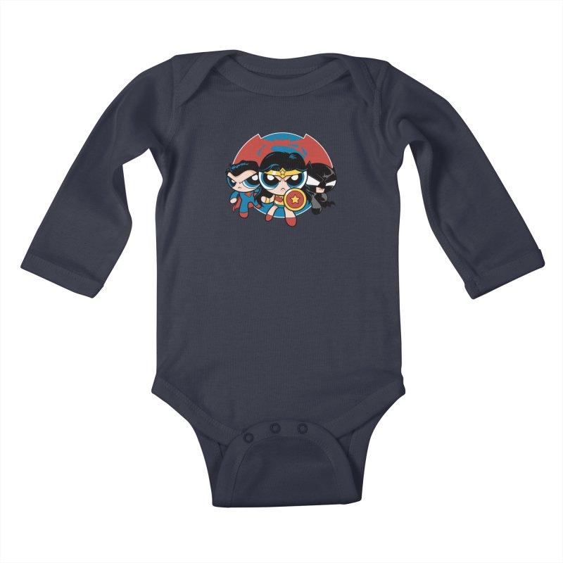 Powderpuff Trinity Kids Baby Longsleeve Bodysuit by foureyedesign's shop