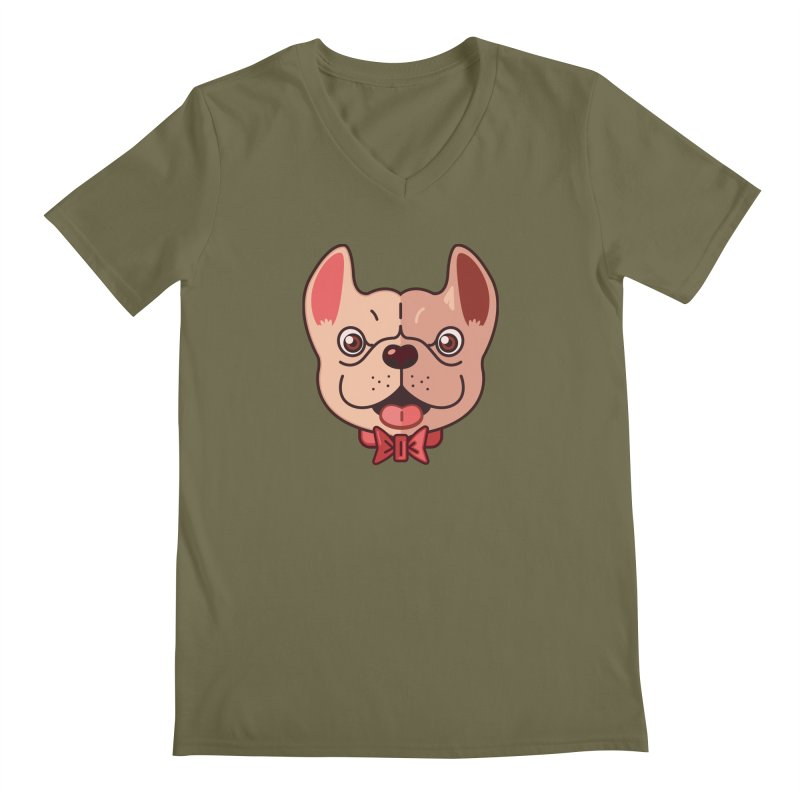 Dapper Frenchie Men's V-Neck by foursixsix's Artist Shop