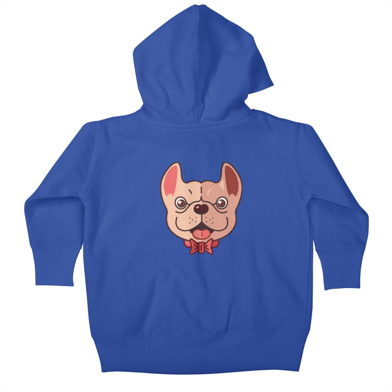 Dapper Frenchie Kids Baby Zip-Up Hoody by foursixsix's Artist Shop
