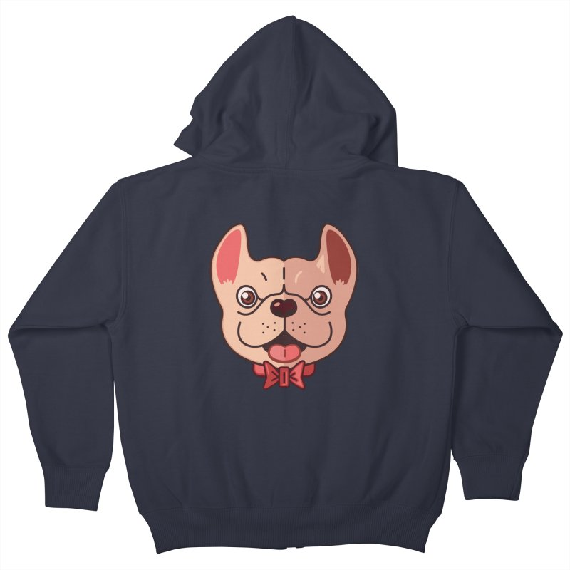 Dapper Frenchie Kids Zip-Up Hoody by foursixsix's Artist Shop