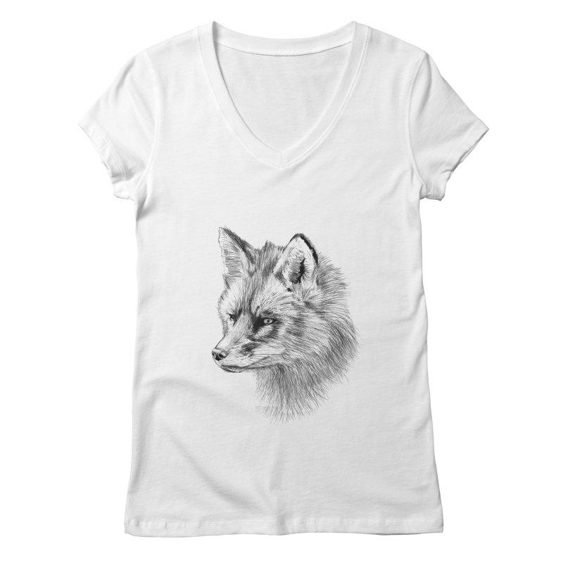 The Fox Women's V-Neck by foxandeagle's Artist Shop
