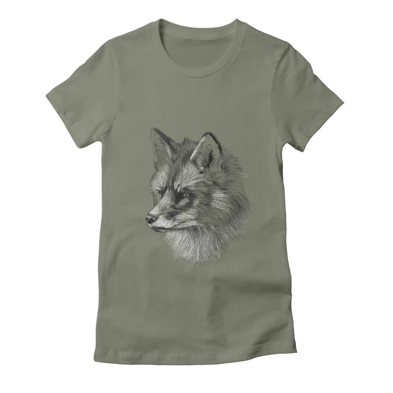 The Fox Women's Fitted T-Shirt by foxandeagle's Artist Shop