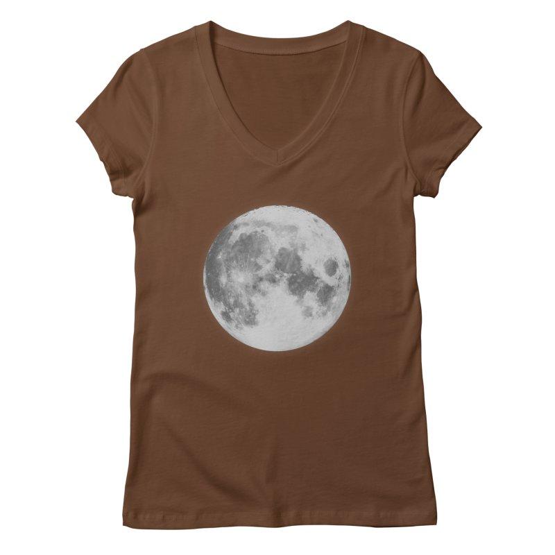 The Moon Women's Regular V-Neck by foxandeagle's Artist Shop
