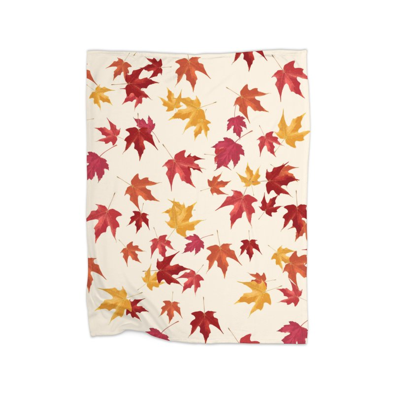 Fall Leaves Home Fleece Blanket Blanket by foxandeagle's Artist Shop