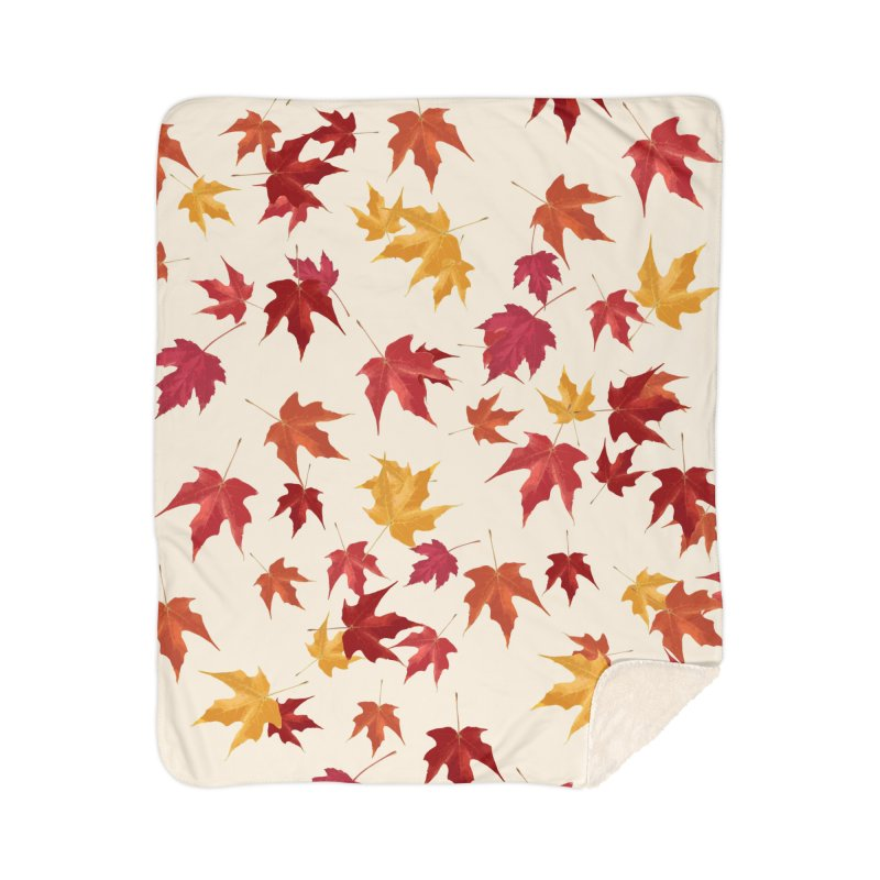 Fall Leaves Home Sherpa Blanket Blanket by foxandeagle's Artist Shop