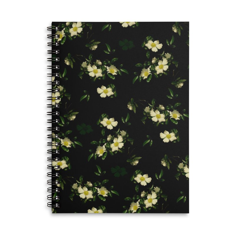 White pattern of flowers Accessories Lined Spiral Notebook by foxandeagle's Artist Shop