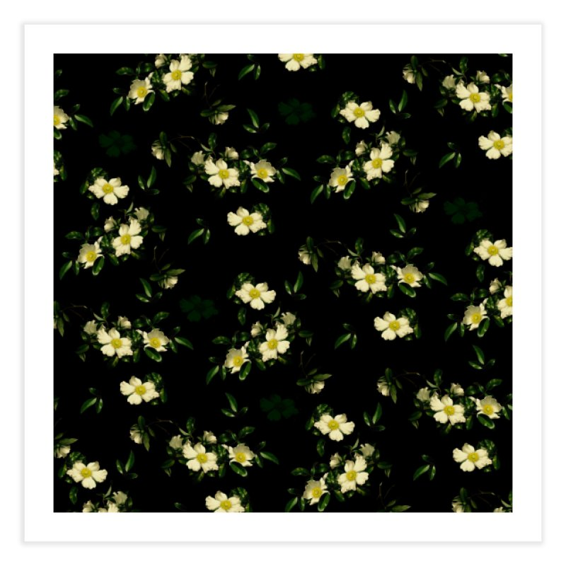 White pattern of flowers Home Fine Art Print by foxandeagle's Artist Shop