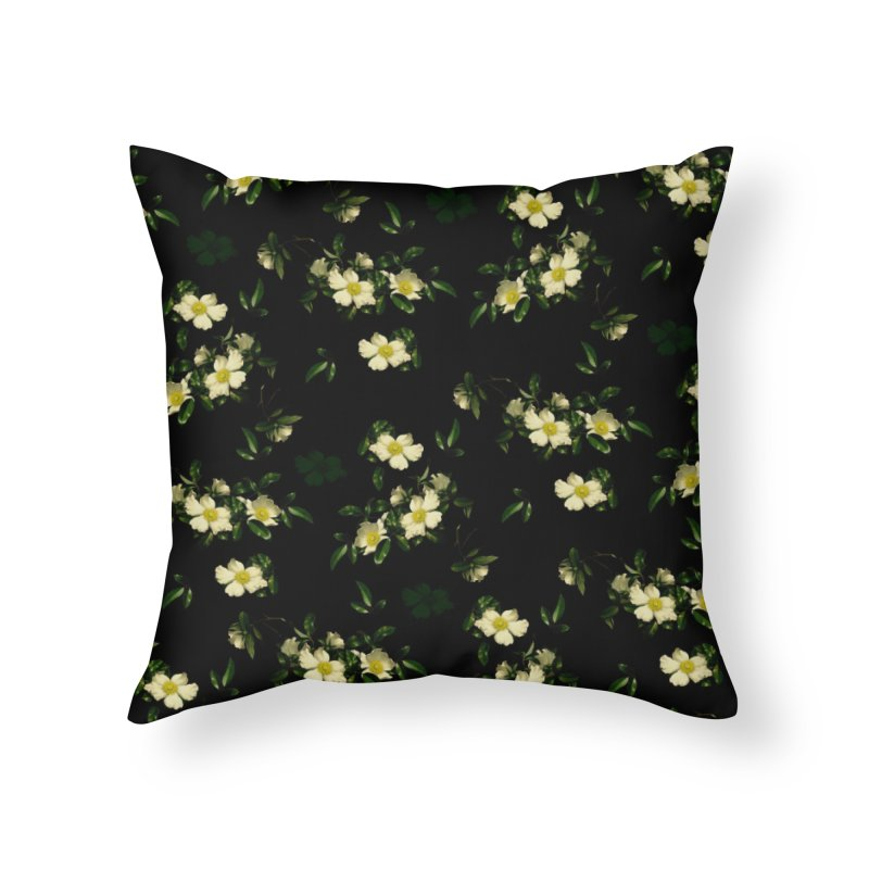 White pattern of flowers Home Throw Pillow by foxandeagle's Artist Shop