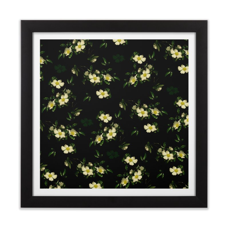 White pattern of flowers Home Framed Fine Art Print by foxandeagle's Artist Shop