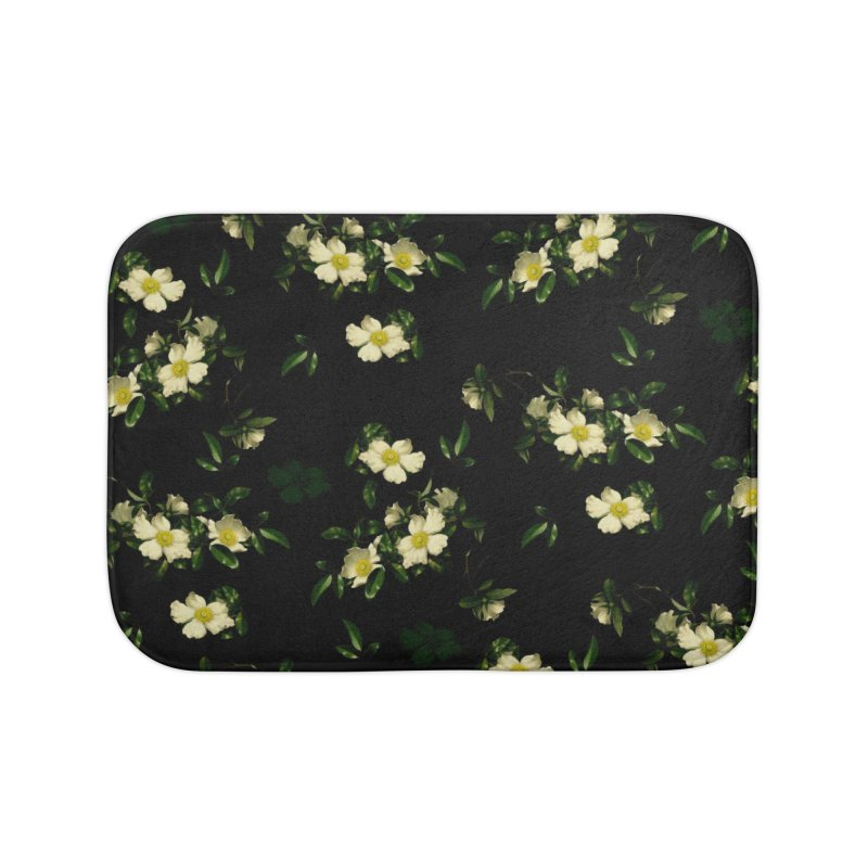 White pattern of flowers Home Bath Mat by foxandeagle's Artist Shop