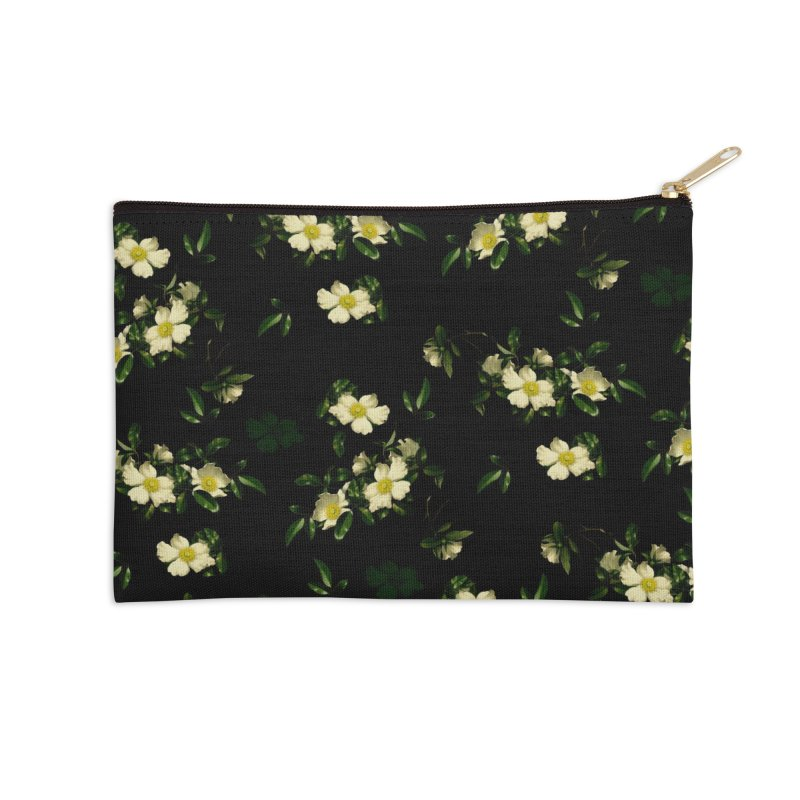 White pattern of flowers Accessories Zip Pouch by foxandeagle's Artist Shop
