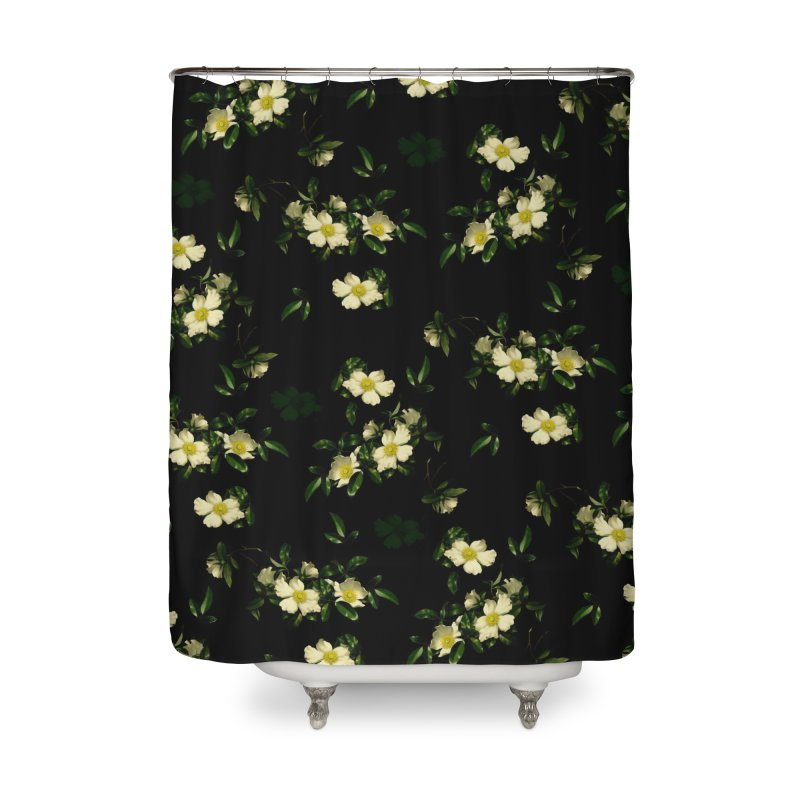 White pattern of flowers Home Shower Curtain by foxandeagle's Artist Shop
