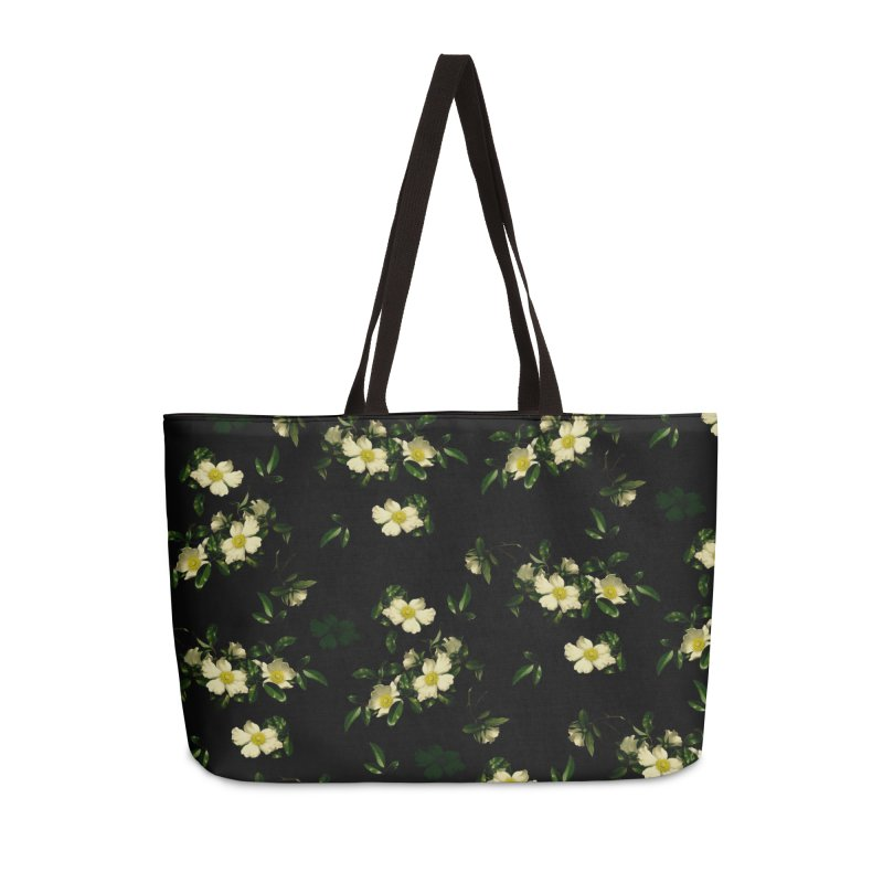 White pattern of flowers Accessories Weekender Bag Bag by foxandeagle's Artist Shop