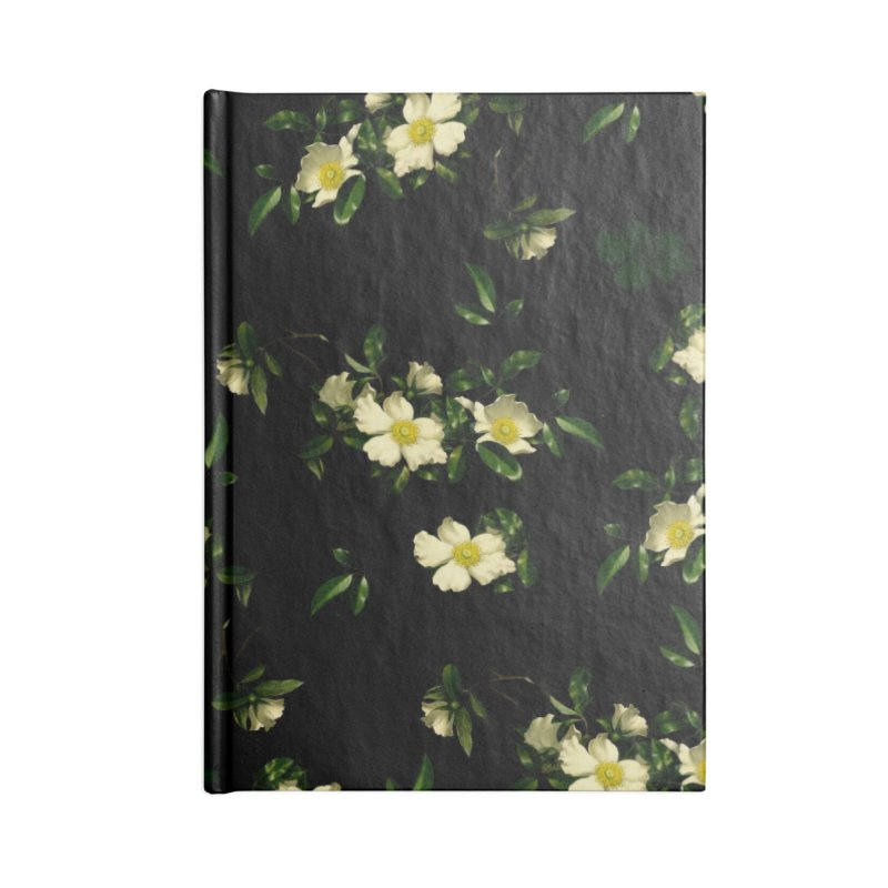 White pattern of flowers Accessories Blank Journal Notebook by foxandeagle's Artist Shop