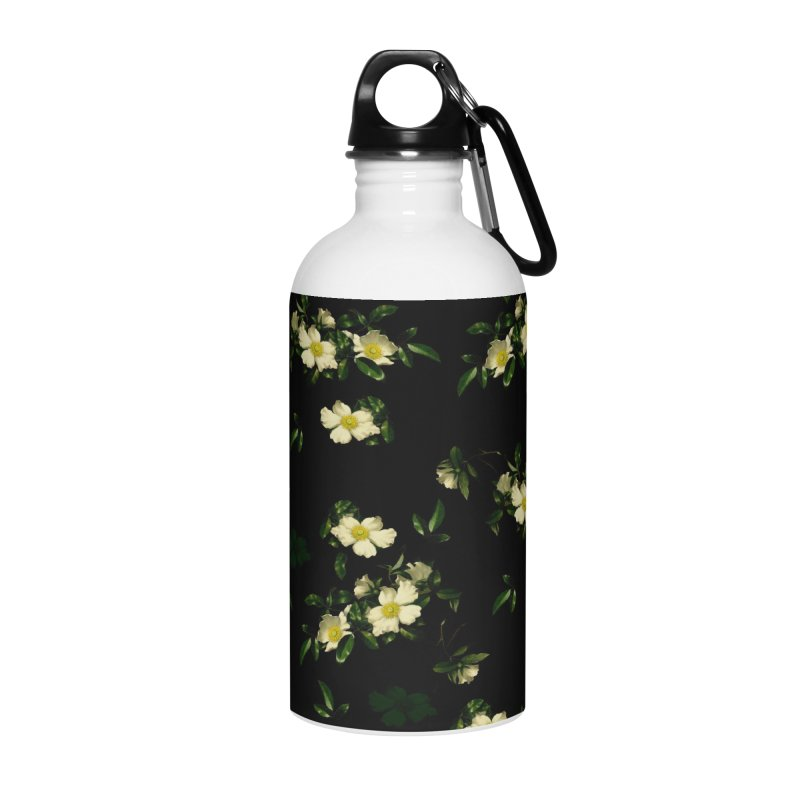 White pattern of flowers Accessories Water Bottle by foxandeagle's Artist Shop