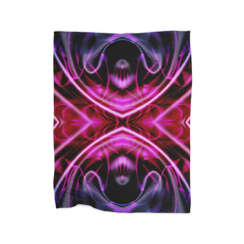 Neon Reflection Home Fleece Blanket Blanket by foxandeagle's Artist Shop