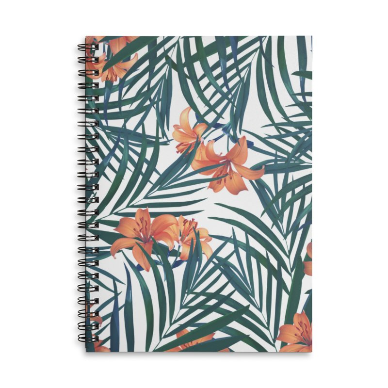 Tropical Lilies Accessories Lined Spiral Notebook by foxandeagle's Artist Shop