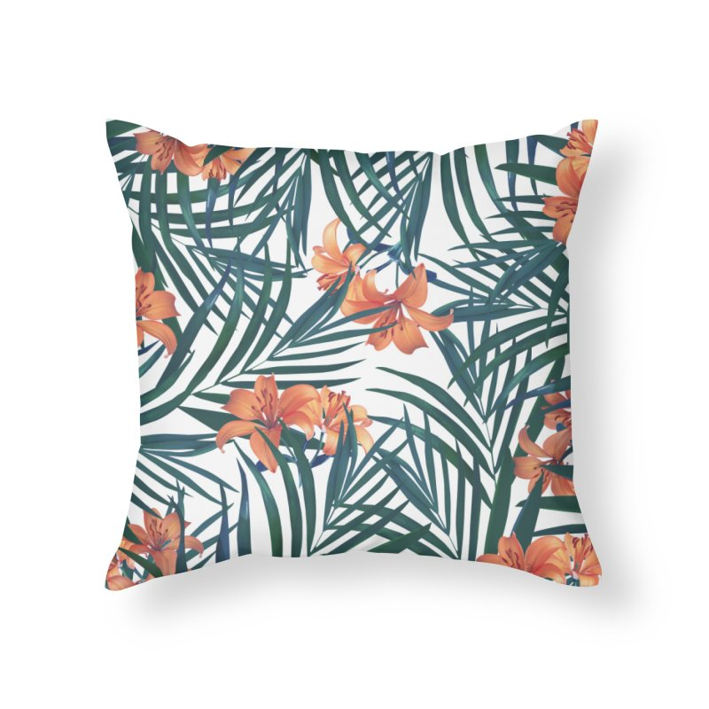 Tropical Lilies Home Throw Pillow by foxandeagle's Artist Shop