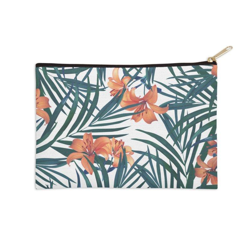 Tropical Lilies Accessories Zip Pouch by foxandeagle's Artist Shop