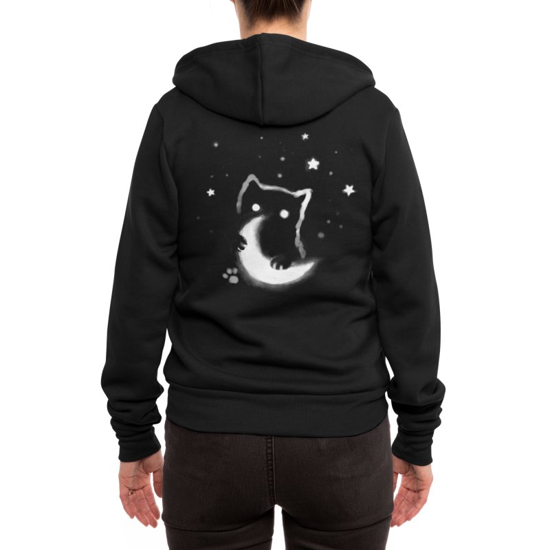 Moon Cat Women's Zip-Up Hoody by Fox Shiver