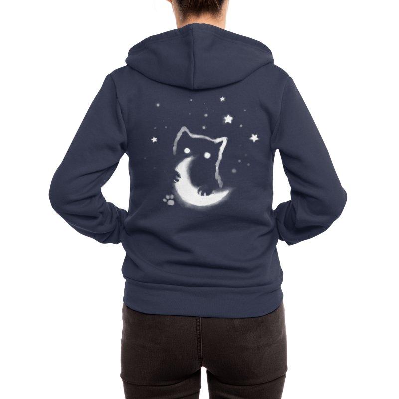 Moon Cat Women's Zip-Up Hoody by Fox Shiver