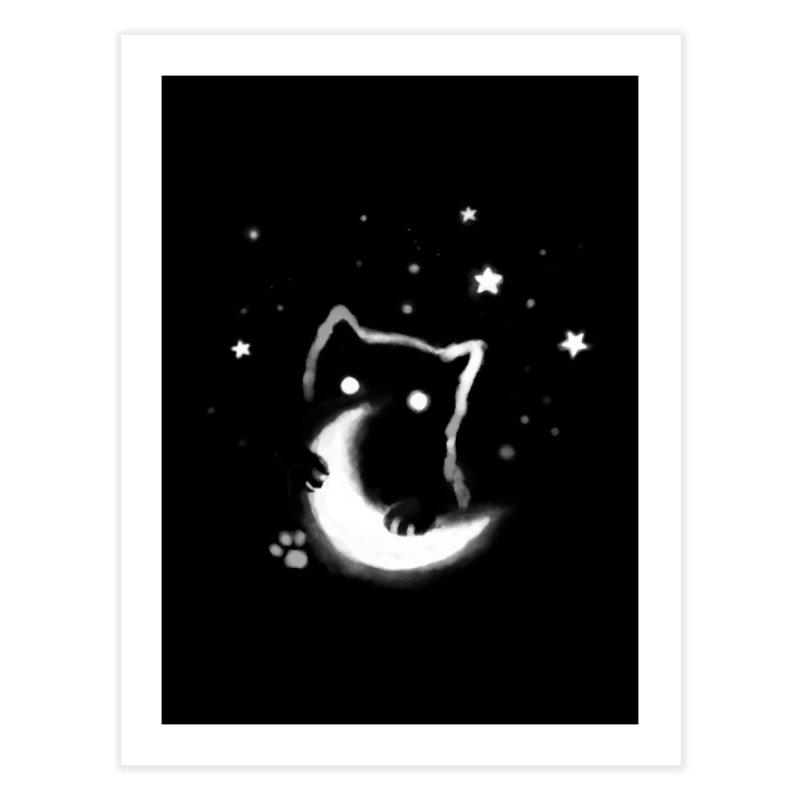 Moon Cat Home Fine Art Print by Fox Shiver