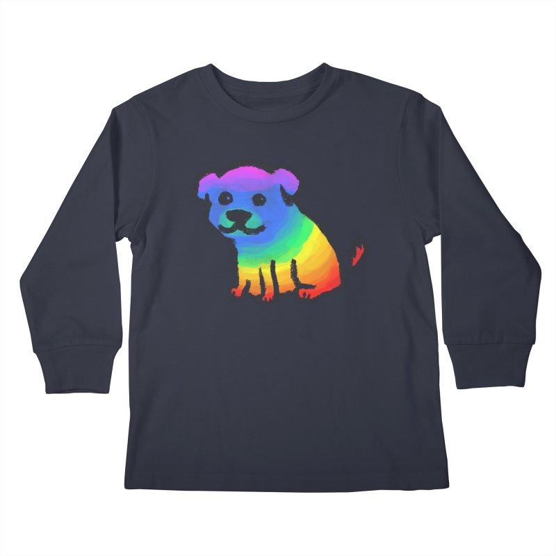 Rainbow Dog Kids Longsleeve T-Shirt by Fox Shiver