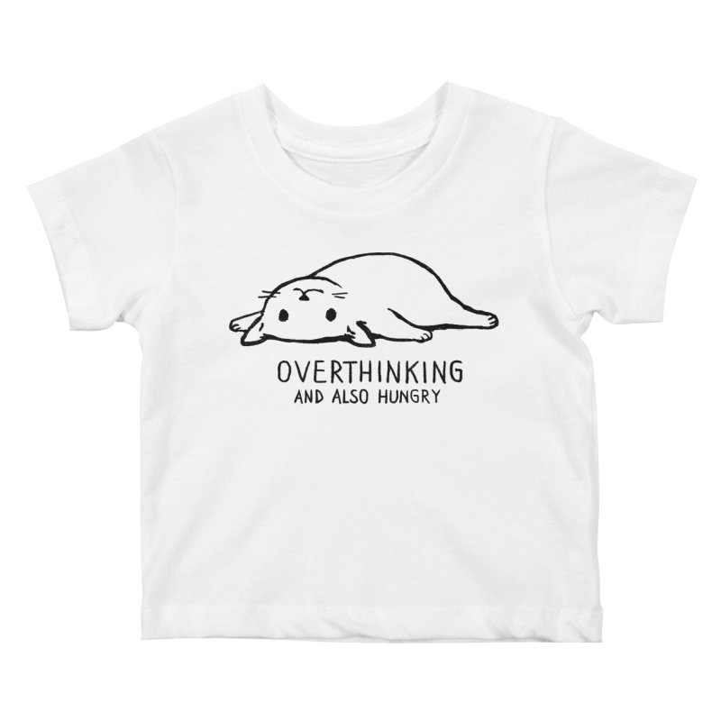 Overthinking and also hungry Kids Baby T-Shirt by Fox Shiver