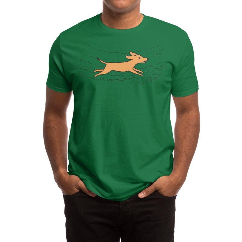 Run Dog Run Men's T-Shirt by Fox Shiver