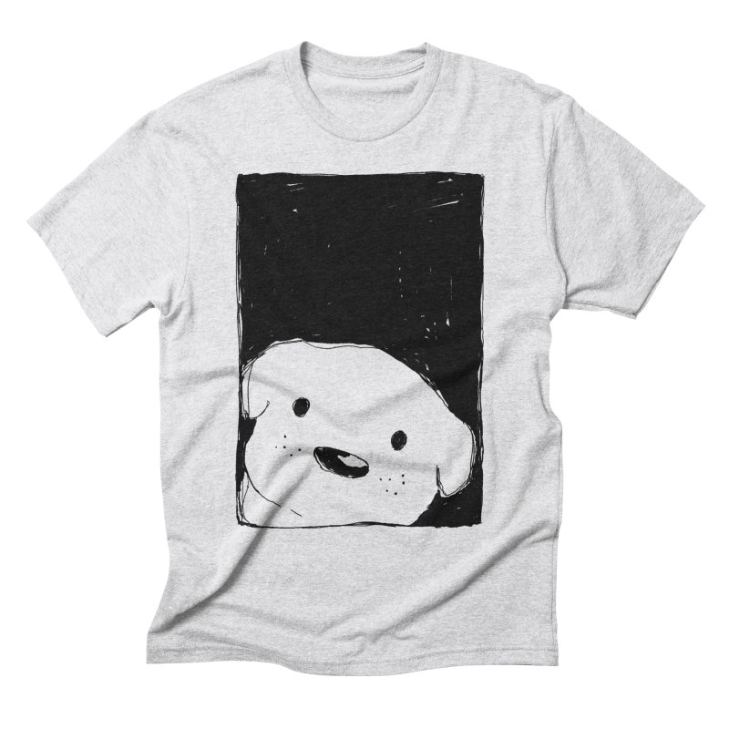 Dog Looking Out a Window Men's T-Shirt by Fox Shiver