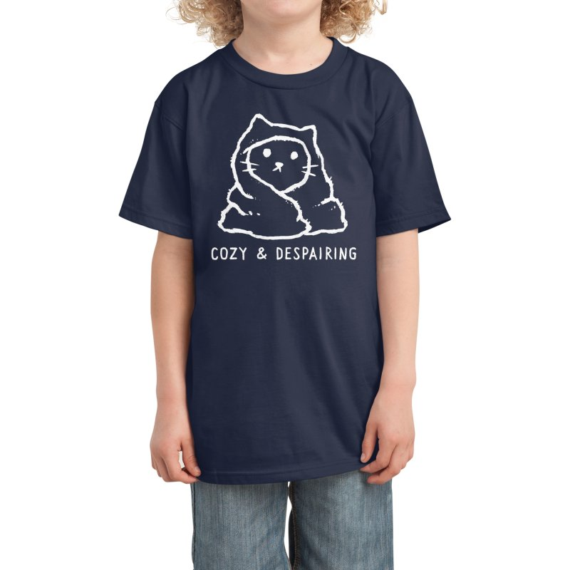 Cozy and Despairing Kids T-Shirt by Fox Shiver