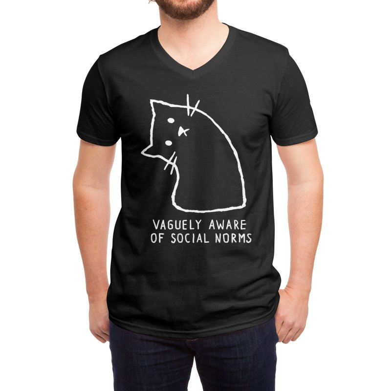 Vaguely Aware of Social Norms Men's V-Neck by Fox Shiver