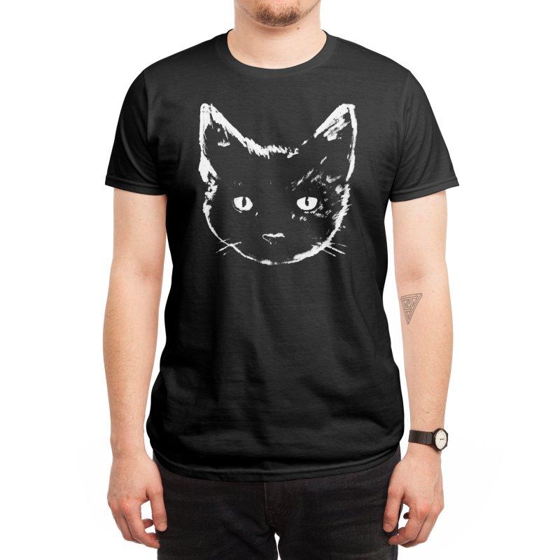 Black Cat Men's T-Shirt by Fox Shiver