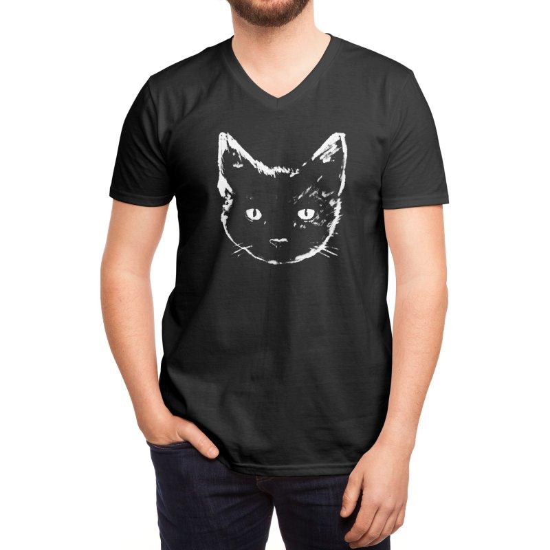 Black Cat Men's V-Neck by Fox Shiver