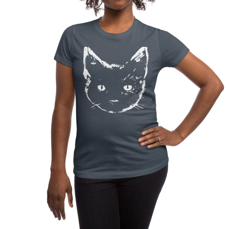 Black Cat Women's T-Shirt by Fox Shiver