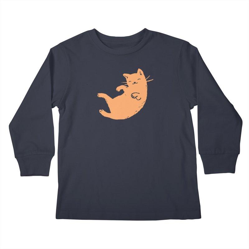Ginger Cat Sleeping Kids Longsleeve T-Shirt by Fox Shiver