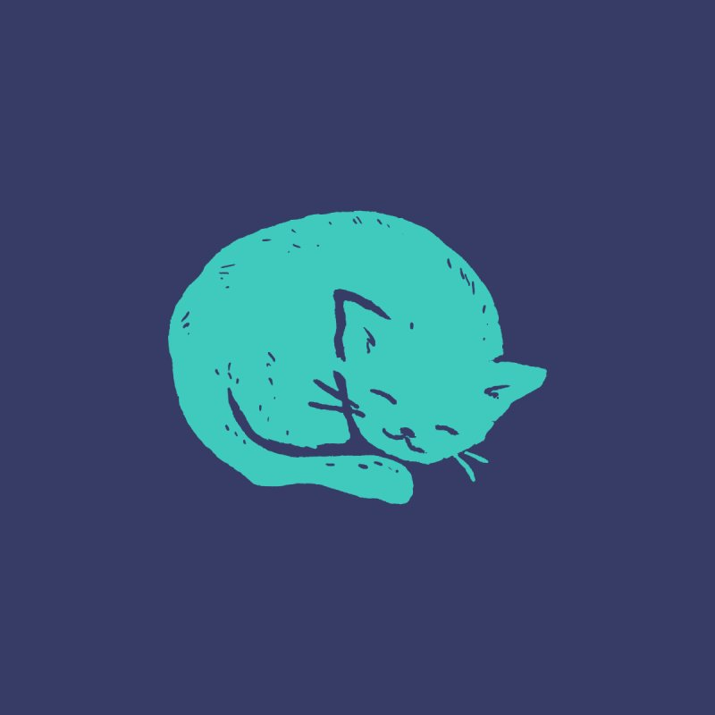 Turquoise Cat Sleeping Men's T-Shirt by Fox Shiver