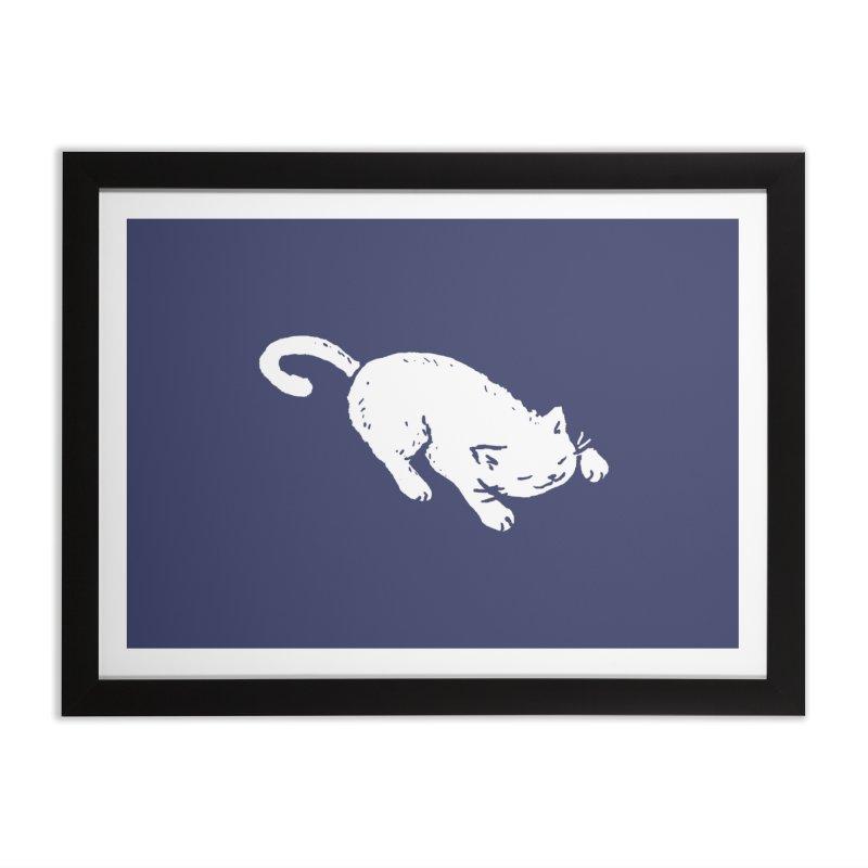 White Cat Sleeping Home Framed Fine Art Print by Fox Shiver