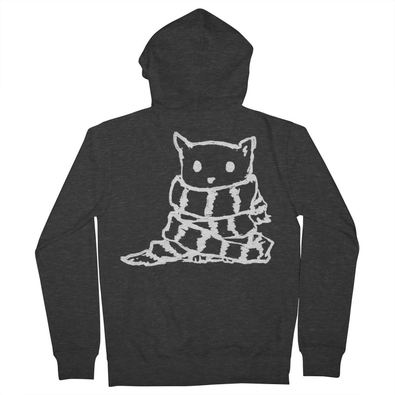Keep Me Warm (Black) Men's French Terry Zip-Up Hoody by Fox Shiver's Artist Shop