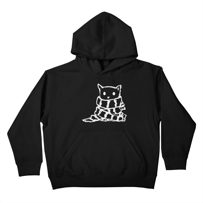Keep Me Warm (Black) Kids Pullover Hoody by Fox Shiver's Artist Shop