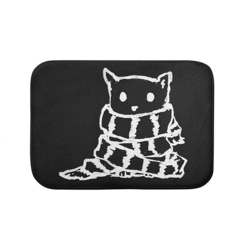 Keep Me Warm (Black) Home Bath Mat by Fox Shiver's Artist Shop