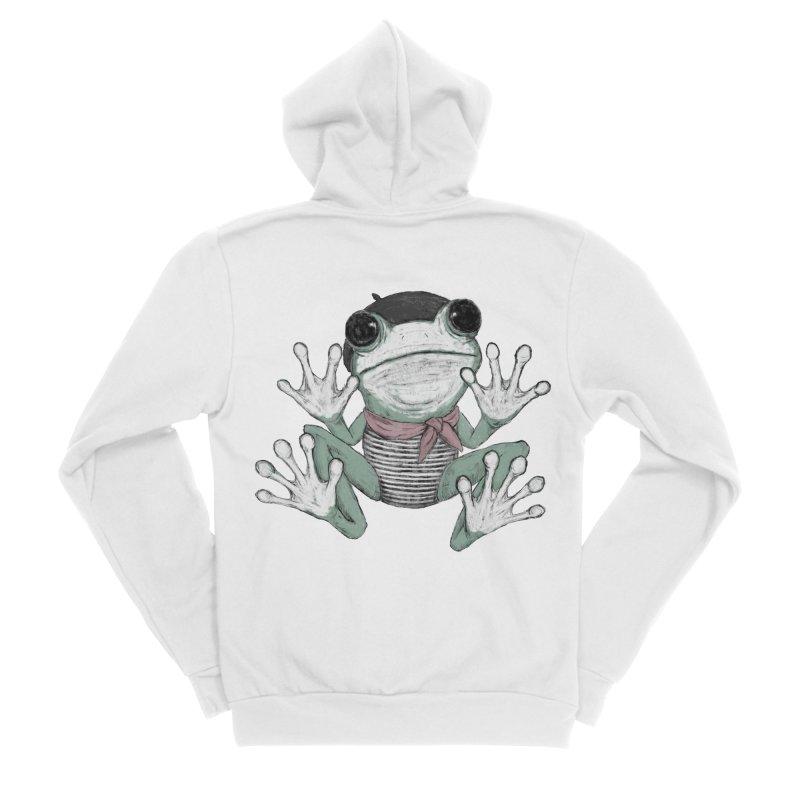 Silent Frog Men's Sponge Fleece Zip-Up Hoody by Fox Shiver's Artist Shop