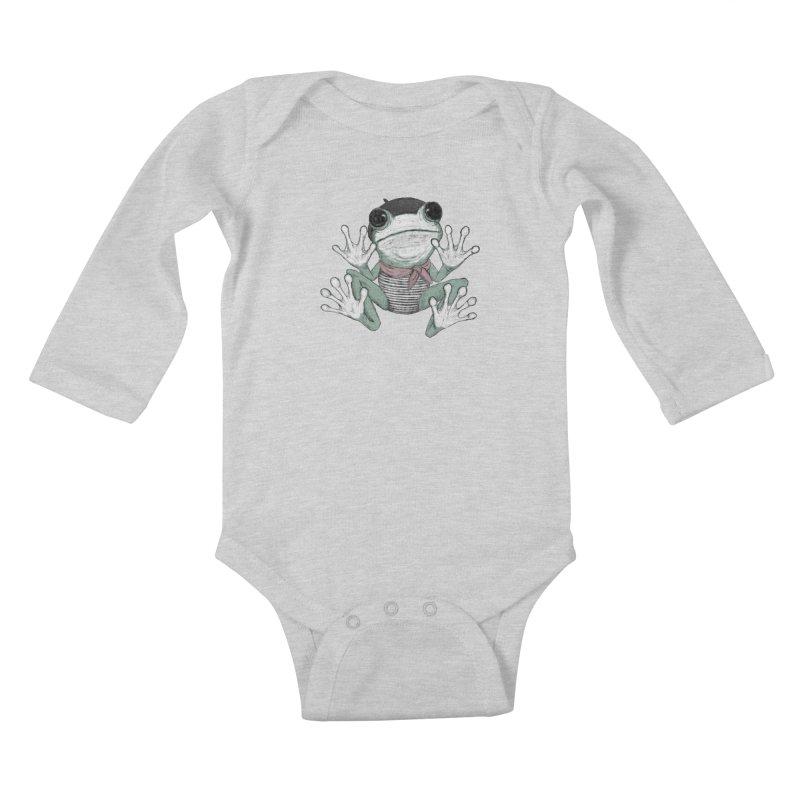 Silent Frog Kids Baby Longsleeve Bodysuit by Fox Shiver's Artist Shop