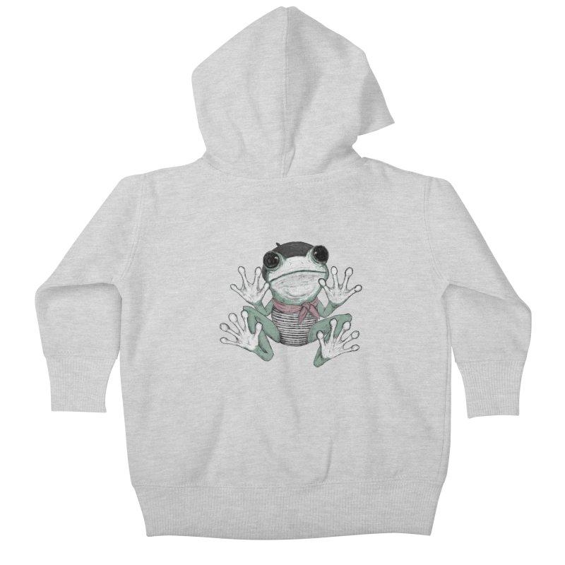 Silent Frog Kids Baby Zip-Up Hoody by Fox Shiver's Artist Shop