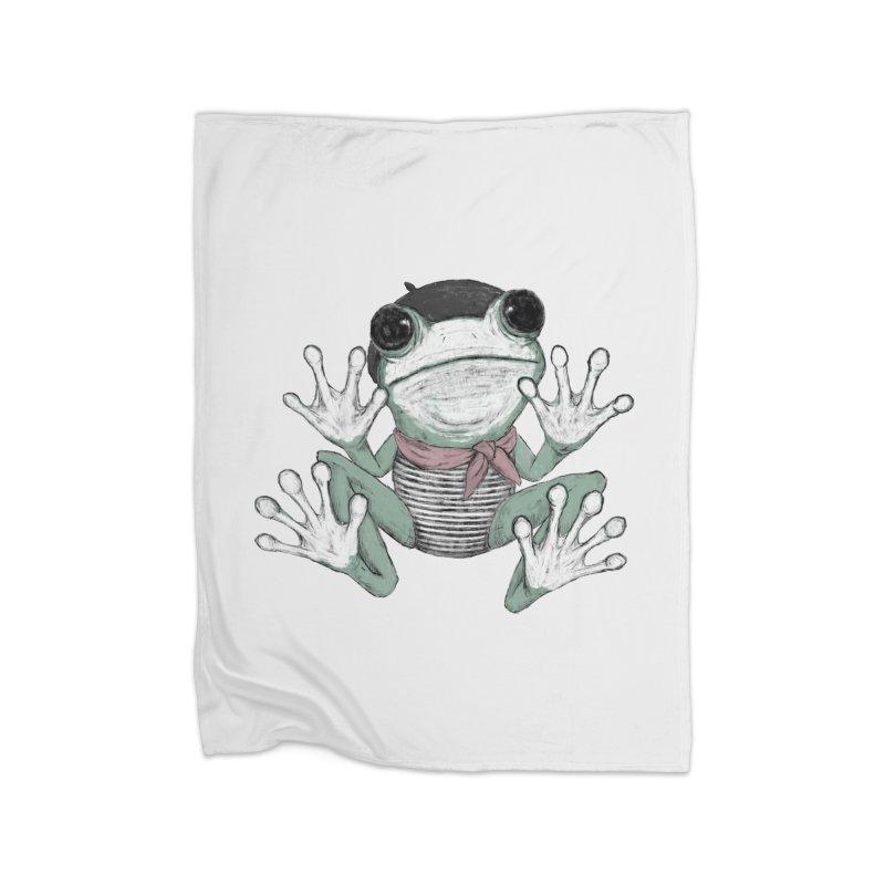 Silent Frog Home Fleece Blanket Blanket by Fox Shiver's Artist Shop
