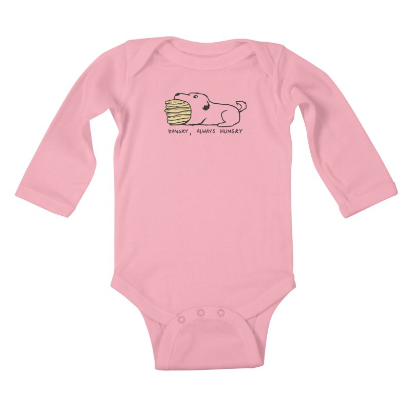 Hungry, Always Hungry Kids Baby Longsleeve Bodysuit by Fox Shiver's Artist Shop