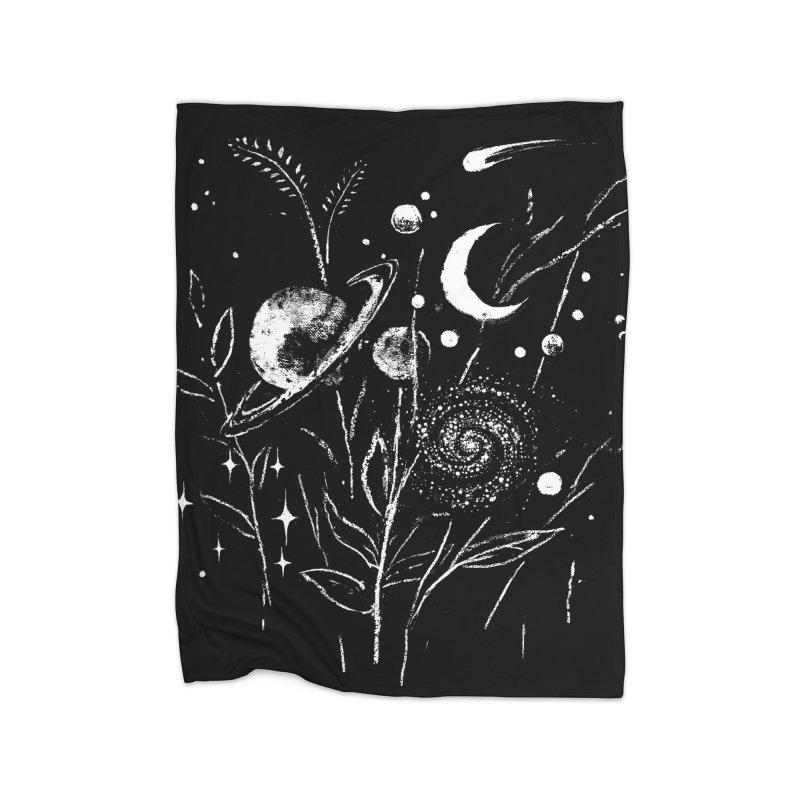 Space Botanica Home Fleece Blanket Blanket by Fox Shiver's Artist Shop